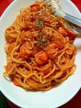 ぷりぷり海老の濃厚トマトクリームスパゲッティ☆