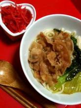手作りスープde簡単☆沖縄そば風♪乾麺うどん使用☆