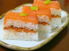 スモークサーモンで♪簡単押し寿司