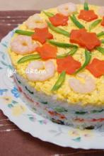焼き鮭のお祝い押し寿司ケーキ☆ 子供と作れる♪